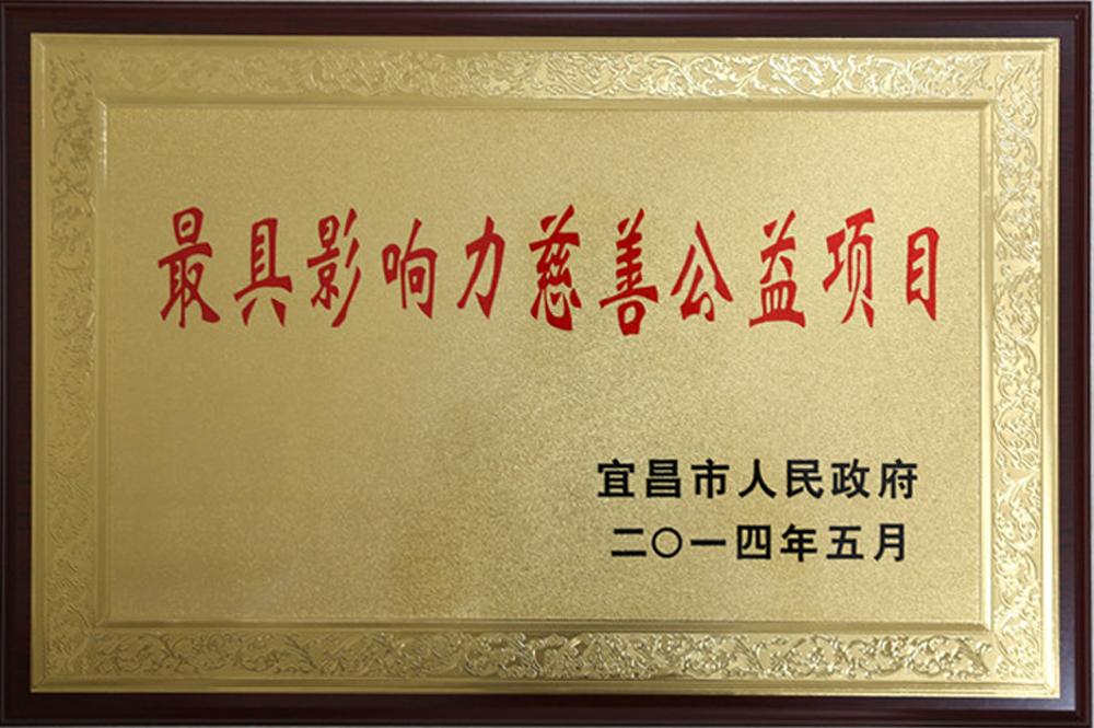 """2014年荣获""""最具影响力慈善公益项目""""称号"""