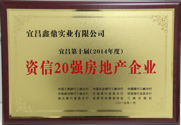 """2015年荣获""""宜昌第十届(2014年度)资信20强房地产企业""""称号"""