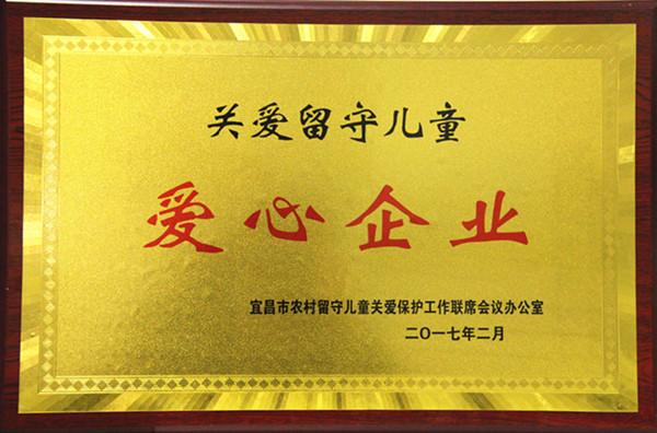 """2017年荣获宜昌市""""关爱留守儿童爱心企业""""称号"""