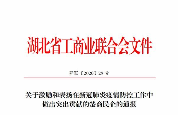 鑫鼎集团被湖北省工商联授予楚商抗疫突出贡献奖